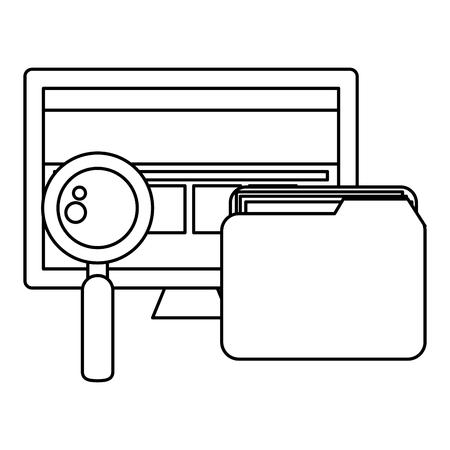 folder with magnifying glass and computer vector illustration design Ilustração