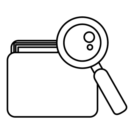 file folder with documents and magnifying glass vector illustration design Imagens - 104104639