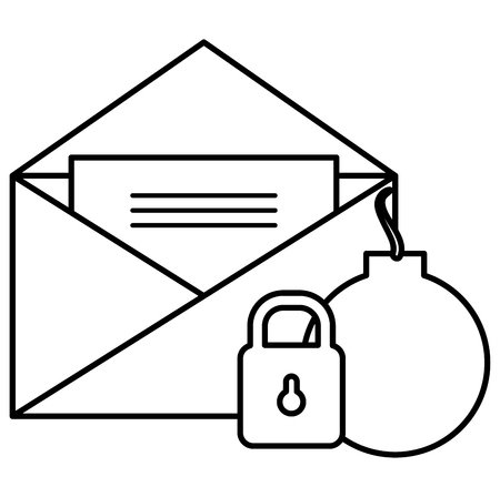 envelope mail with padlock and bomb vector illustration design Stock fotó - 104107171
