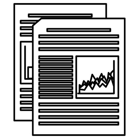 documents paper with statistics vector illustration design  イラスト・ベクター素材