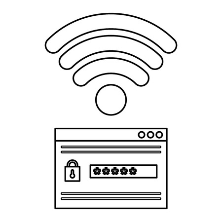 security password access with wifi signal vector illustration design Stock Vector - 104107218