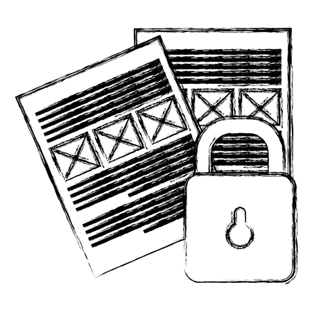 documents files with padlock vector illustration design
