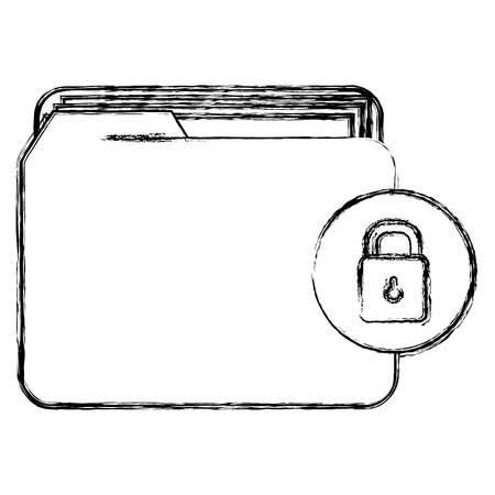 file folder with documents and padlock vector illustration design Foto de archivo - 104108063