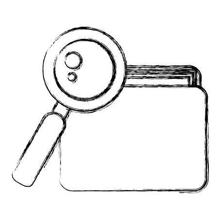 file folder with documents and magnifying glass vector illustration design Illustration