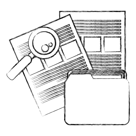 file folder with documents and magnifying glass vector illustration design Ilustração