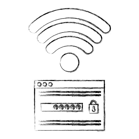 security password access with wifi signal vector illustration design