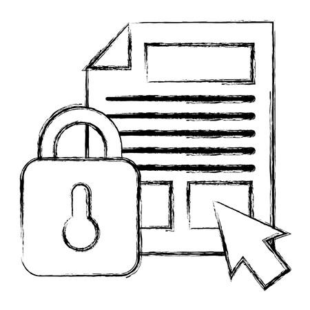 Archivos de documentos con candado y flecha del cursor, diseño de ilustraciones vectoriales