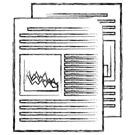 documents paper with statistics vector illustration design