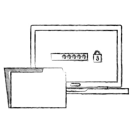 laptop computer with password and folder vector illustration design