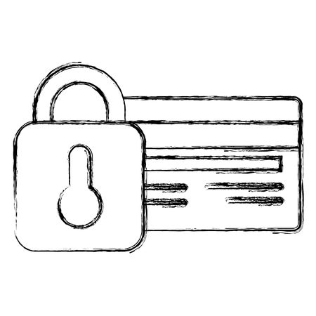 credit card with padlock vector illustration design