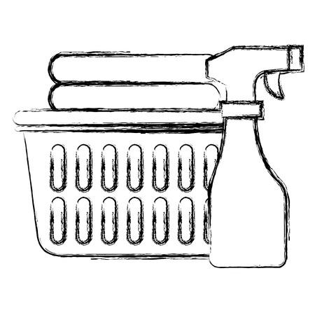 laundry service basket equipment vector illustration design