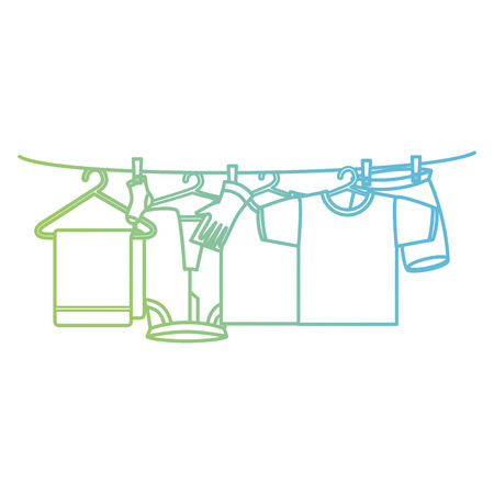 clothes drying on wire vector illustration design Illustration
