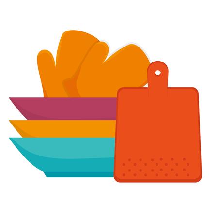 pile dish kitchen utensils vector illustration design