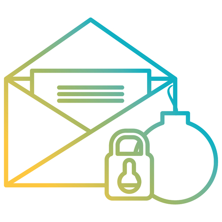envelope mail with padlock and bomb vector illustration design