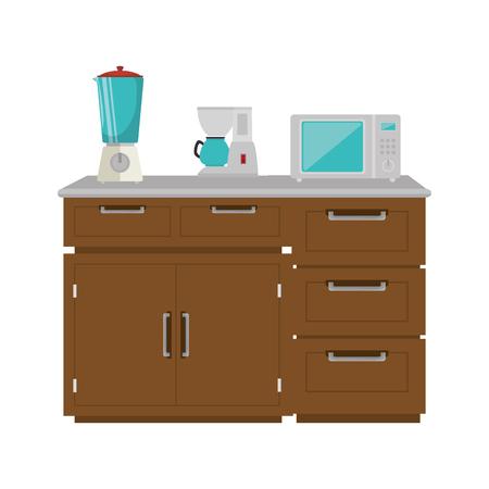 drawer wooden with utensils vector illustration design Illusztráció