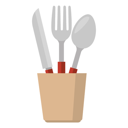 cutlery holder with utensils vector illustration design Ilustração