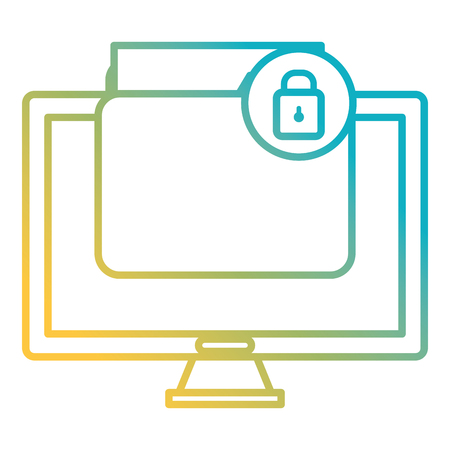 folder with computer and padlock vector illustration design