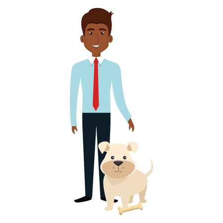 businessman with dog character vector illustration design