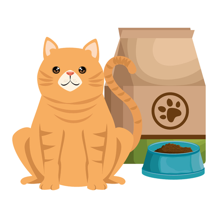 cute cat pet with food bag and dish character vector illustration design