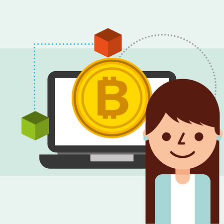 business woman bitcoin cryptocurrency blockchain vector illustration