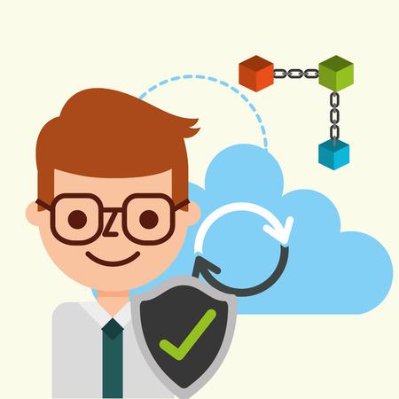 businessman check mark cloud computing blockchain vector illustration