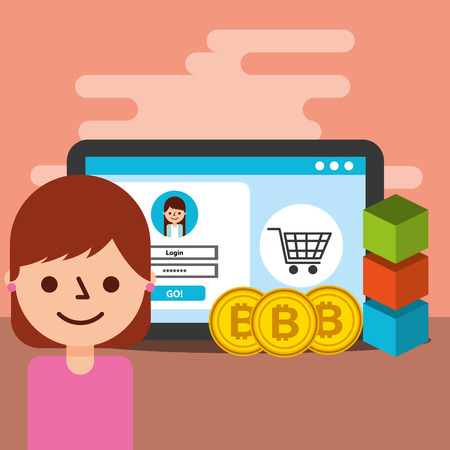woman tablet virtual wallet trade bitcoin blockchain vector illustration Foto de archivo - 104113321