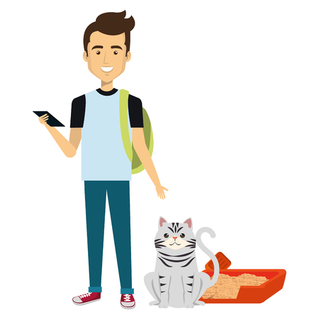 young man with cat and sand box vector illustration design 스톡 콘텐츠 - 104113322