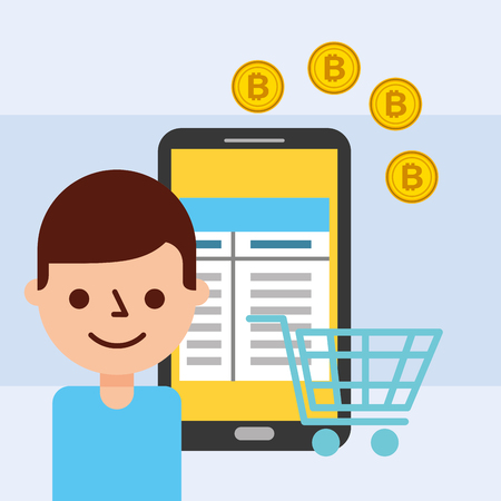 man and smartphone online shopping bitcoin vector illustration Ilustracja