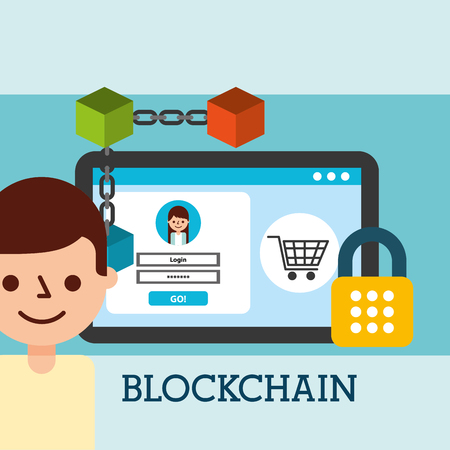 man and tablet virtual wallet bitcoin blockchain secure vector illustration Ilustração