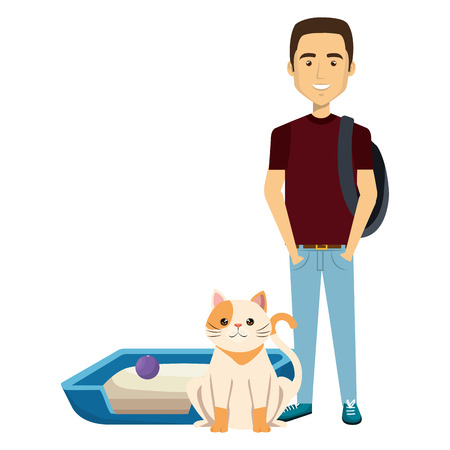 young man with cat and bed vector illustration design