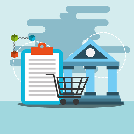 bank transfer online shopping blockchain vector illustration Zdjęcie Seryjne - 104114043