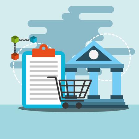 bank transfer online shopping blockchain vector illustration