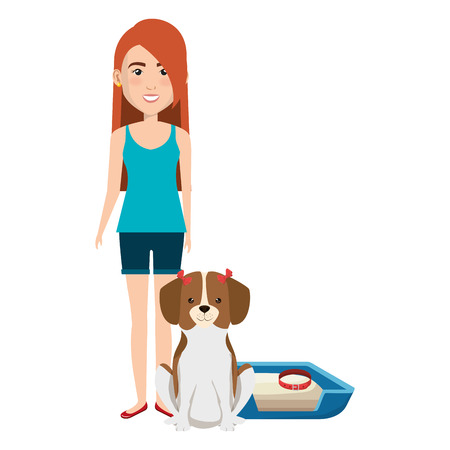 young woman with dog in bed characters vector illustration design Foto de archivo - 104114050