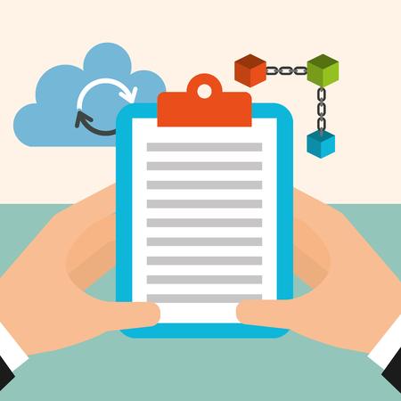hands holding clipboard cloud computing blockchain vector illustration Illustration
