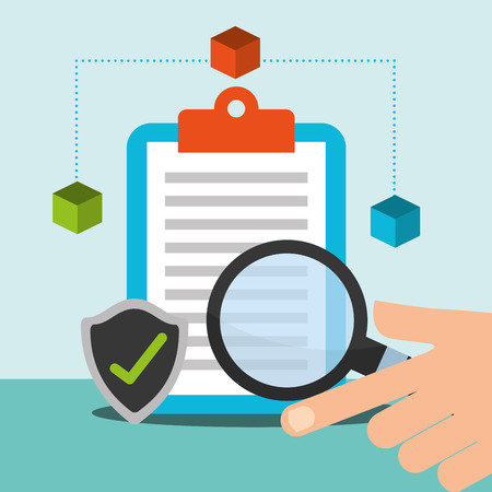 hand with magnifying glass clipboard checkmark blockchain vector illustration Ilustracja