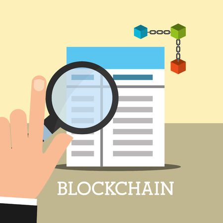 hand with magnifying glass contract blockchain vector illustration 向量圖像