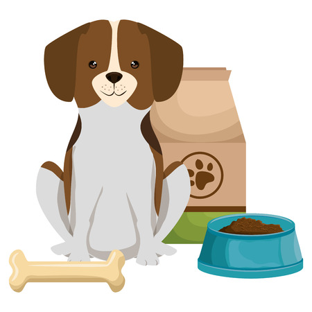 cute dog pet with food and bone character vector illustration design