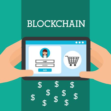 hands with tablet computer virtual wallet blockchain trade money vector illustration