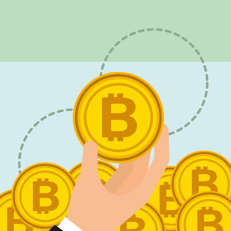 hand holding golden bitcoin cryptocurrency vector illustration Illustration