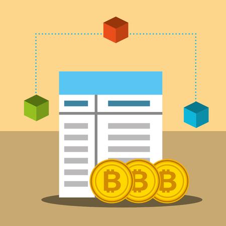 bitcoin trade business technology blockchain vector illustration