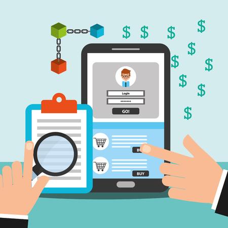 Smartphone und Zwischenablage Geld Blockchain Vektor-Illustration