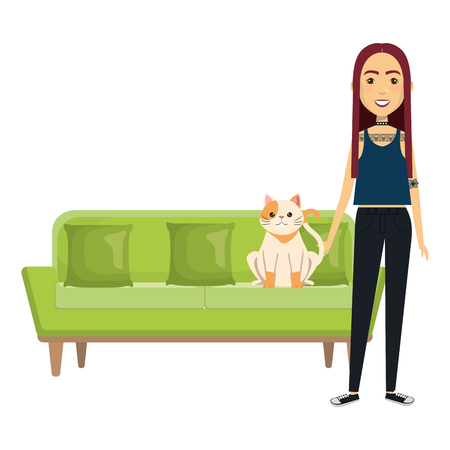 young woman with cat in the sofa characters vector illustration design Banco de Imagens