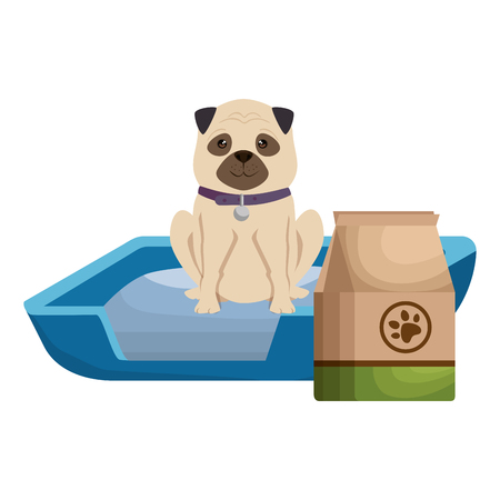 cute dog pet with bed and food character vector illustration design Фото со стока