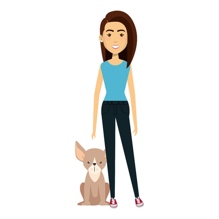 young woman with dog characters vector illustration design 版權商用圖片