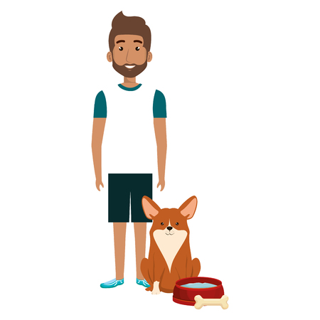 young man with dog and bone vector illustration design