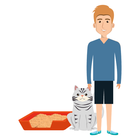young man with cat and sand box vector illustration design
