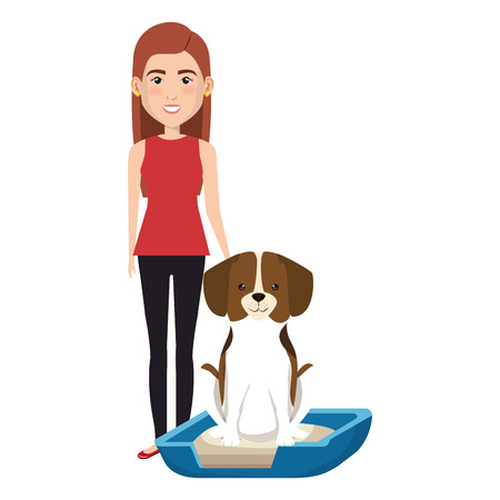 young woman with dog in bed characters vector illustration design Foto de archivo - 104114726
