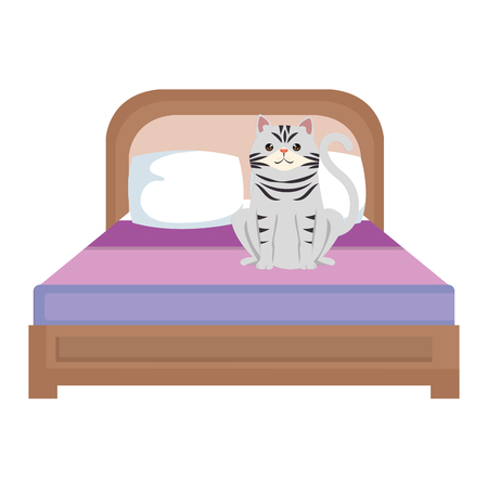 cute cat pet in the bedroom character vector illustration design 向量圖像