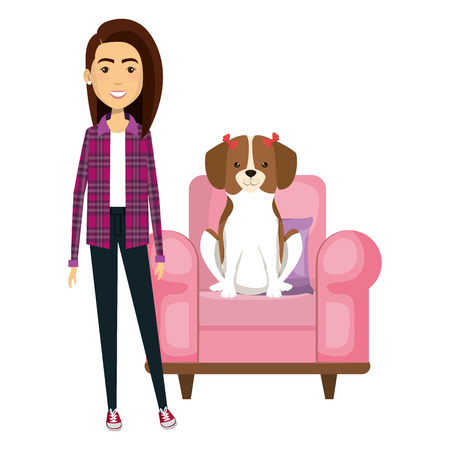 young woman with dog in the sofa characters vector illustration design Stock Vector - 104110145