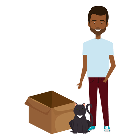 young man with cat and box carton vector illustration design